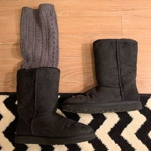 Used black Uggs with removable sweater legging 10